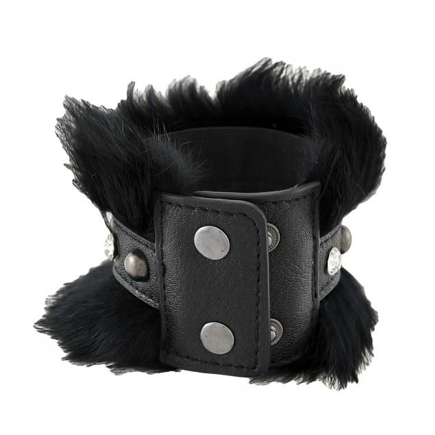 Black Faux Leather Fur And Rhinestone Wristband Mens Leather Bracelets