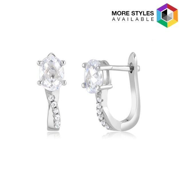Crossover Sterling Silver Cubic Zirconia Huggie Earrings
