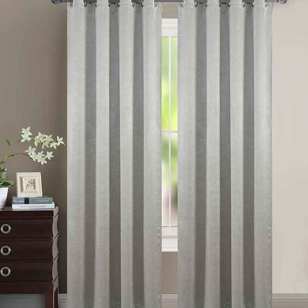 "Extra Wide 110"" X 84"" Heavy Blackout Velvet Embossed Curtain Panel Pair"