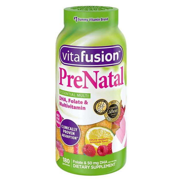 Vitafusion Pre Natal Gummy Vitamins. Lemon & Raspberry Lemonade Flavors