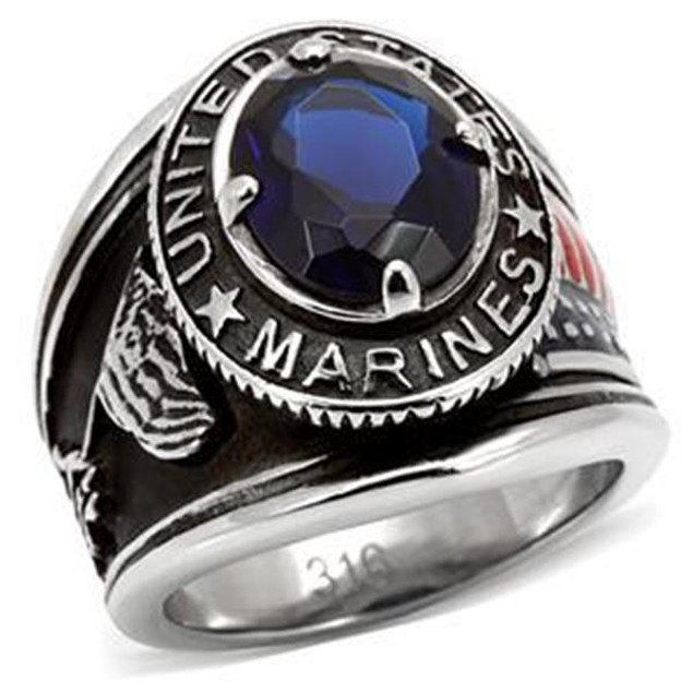 """Men's Black Stainless Steel """"United States Marines"""" Sapphire Blue Ring"""