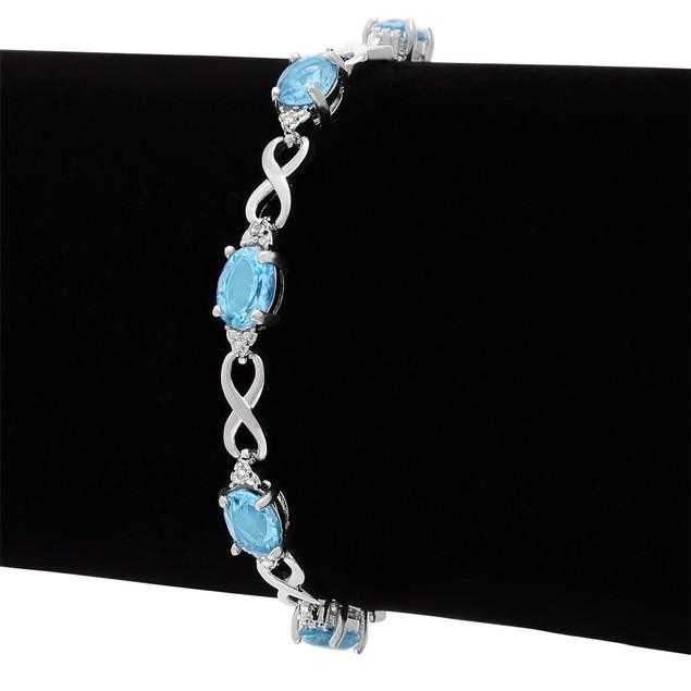 Blue Topaz and Diamond Bracelet 9.01cttw
