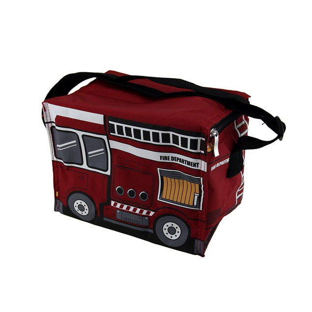 Red Fire Engine Nylon Ladder Truck Insulated Lunch Reusable Lunch Bags