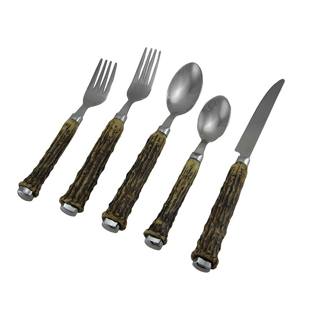 Rustic Polished End Faux Antler Handle 5 Pc. Flatware Sets