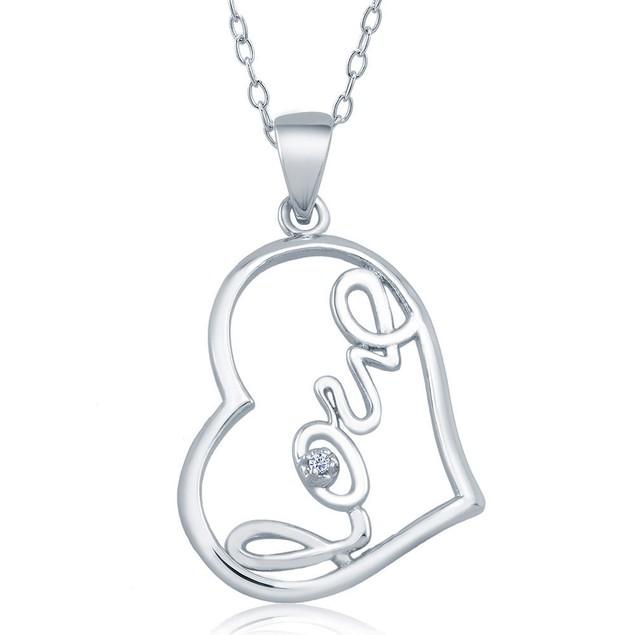 1/10cttw Diamond Accent Drop Heart Necklace
