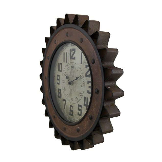 Three Hands Metal Wall Clock Gear Design Wall Clocks