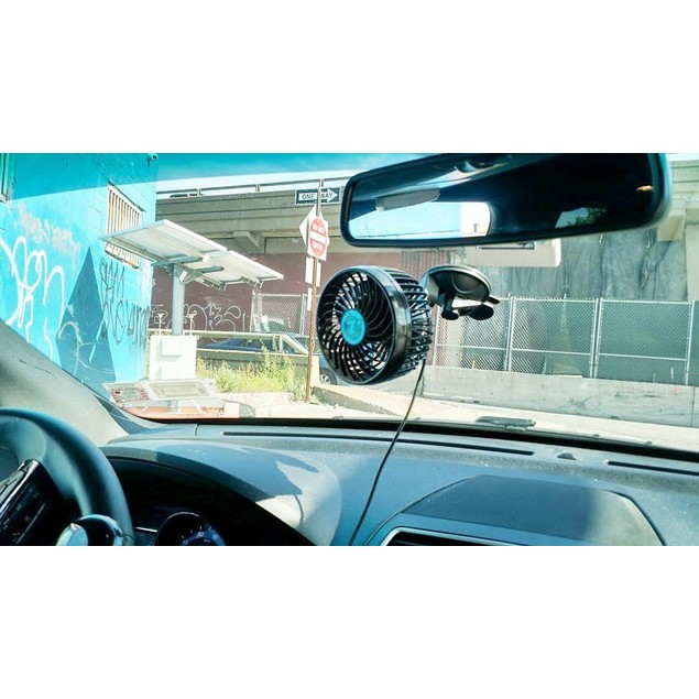 """Zone Tech 4.5"""" 12V  Car Cooling Air Window Fan Suction Cup Oscillating"""