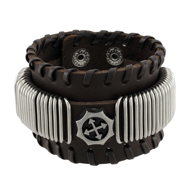 Brown Leather Wristband With Chrome Rings Faux Mens Leather Bracelets