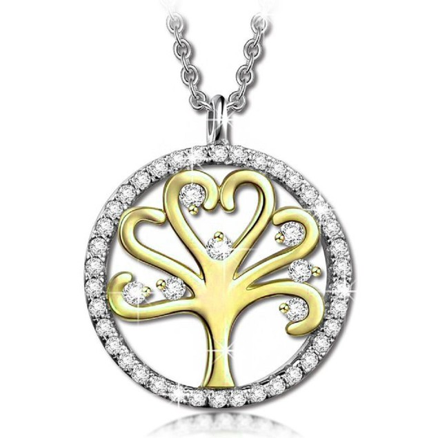 Gold Tone Tree of Life Cubic Zirconia Necklace