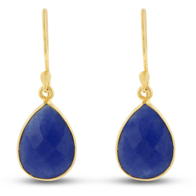 Gold Tone 12ct Blue Sapphire Pear Shape Earrings
