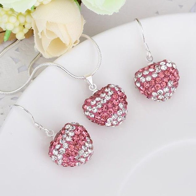 Austrian Stone Multi-Pave Heart Drop Earring and Necklace Set - Pink Stripe