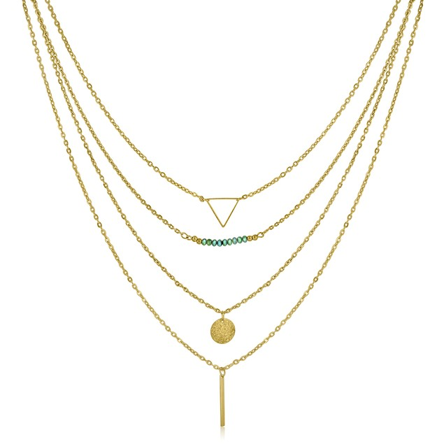 Gold Plated Quadruple Layer Pendant Necklace