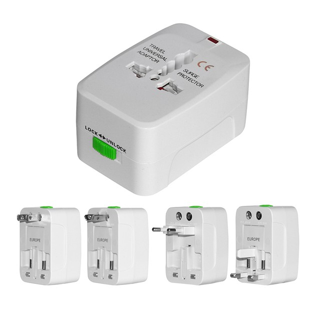 2-Pack: International 4-in-1 Travel Voltage Adapter with Surge Protection