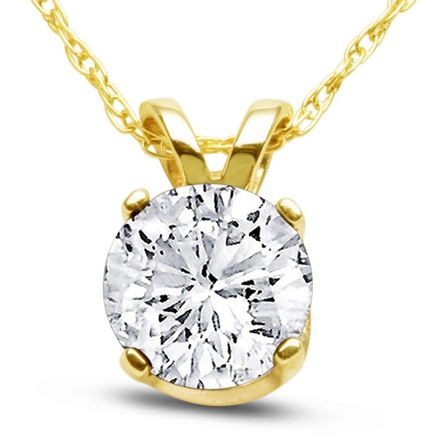 14k Yellow Gold 1 Carat Genuine Diamond Solitaire Necklace