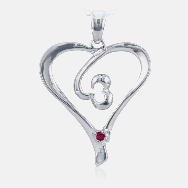 .05ct Ruby Heart Pendant in Sterling Silver
