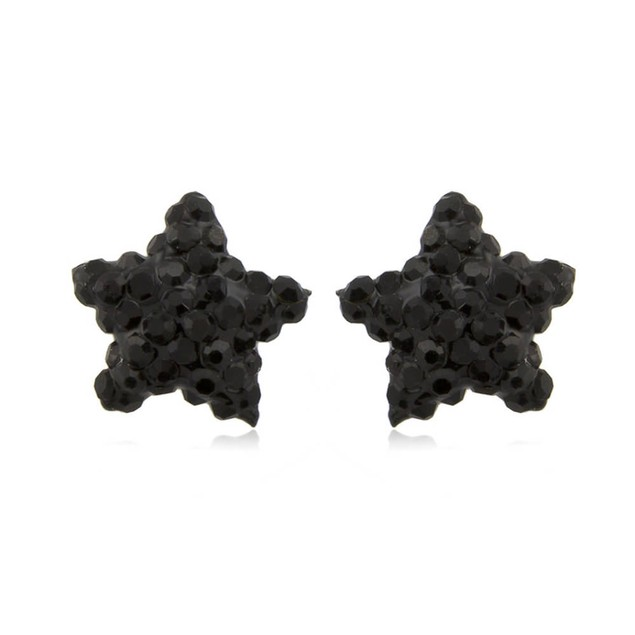 Sterling Silver Sparkling Crystal 10mm Stud Earrings - Star Jet Black