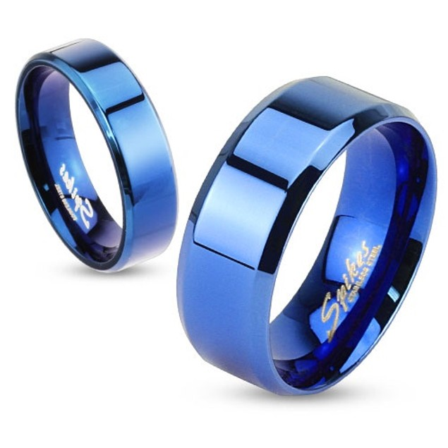 Beveled Edge Flat Band Blue IP Over Stainless Steel Ring