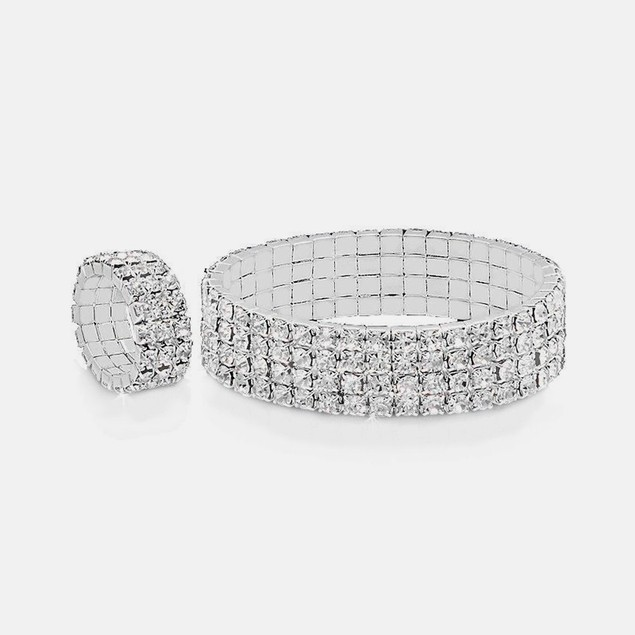 3 Row Silver Plated Stretch Bracelet & Ring Set