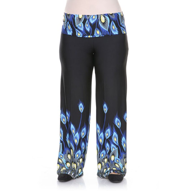 Plus Size Peacock Printed Palazzo Pants - Royal