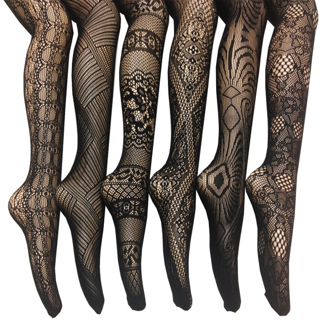 6 Pairs: Frenchic Elegant Fishnet Lace Tights - Assorted Styles & Extended Sizes