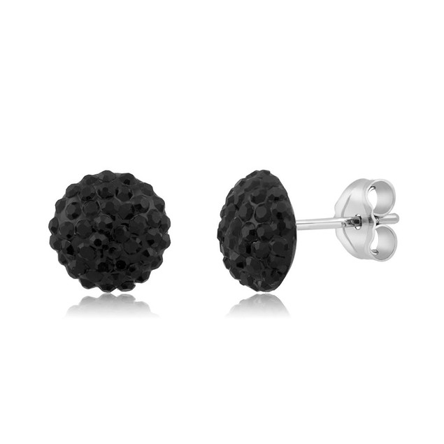 Sterling Silver Sparkling Crystal 10mm Stud Earrings - Round Jet Black