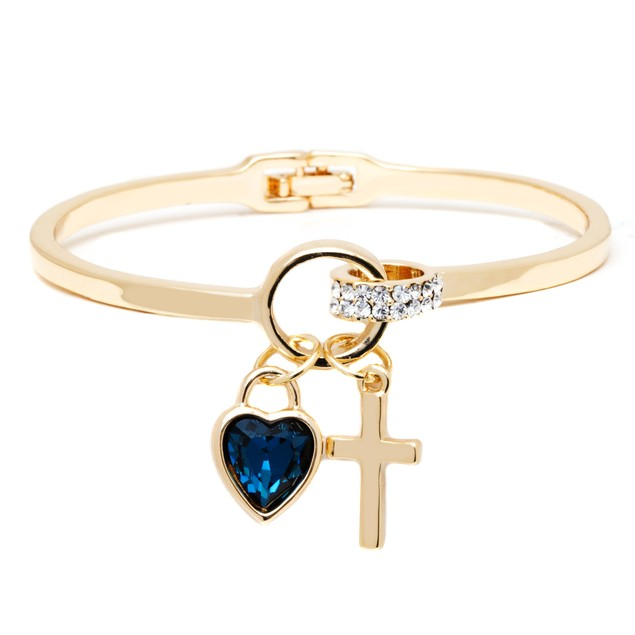18K Gold Sapphire Crystal Element Heart Cross Cuff