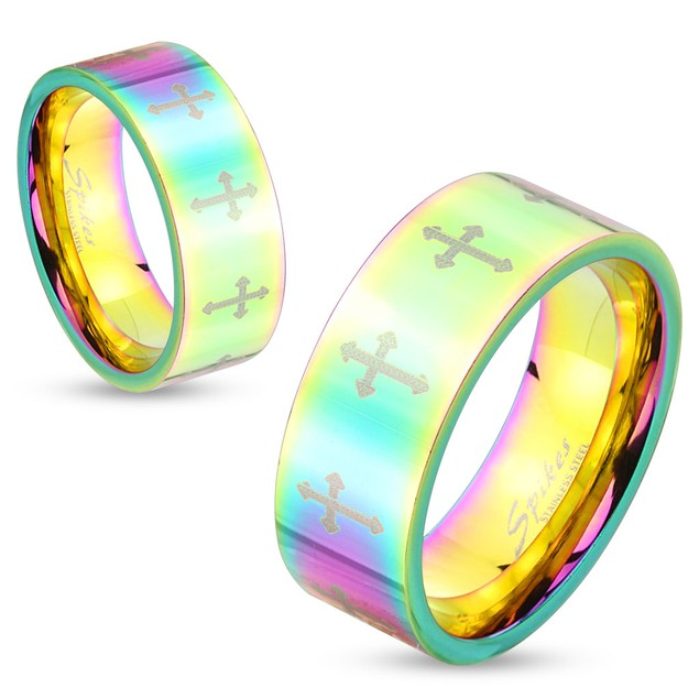 Rainbow Hued Cross Pattern Stainless Steel Couple Ring