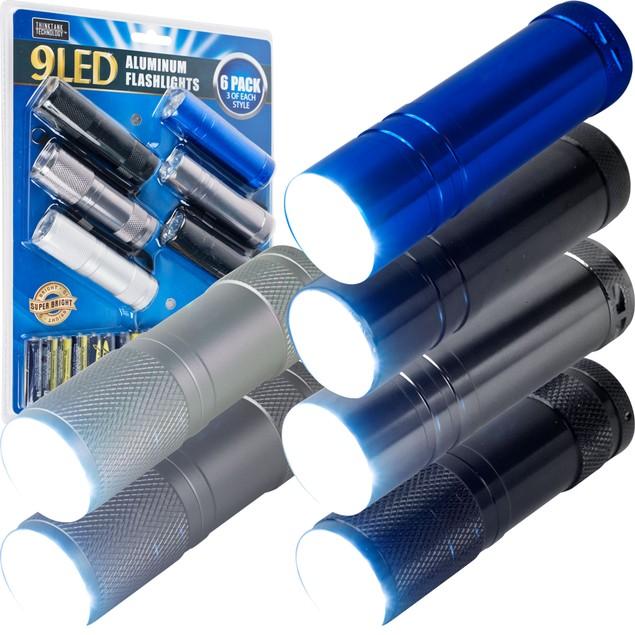 Whetstone 6 Pack Aluminum 9-LED Flashlights with Batteries
