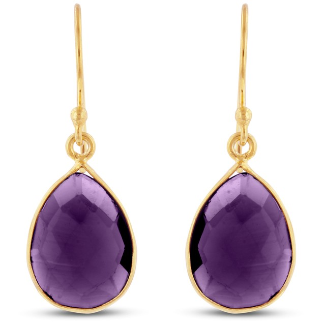 12ct Created Amethyst Pear Shape Earrings In 18 Karat Gold Overlay
