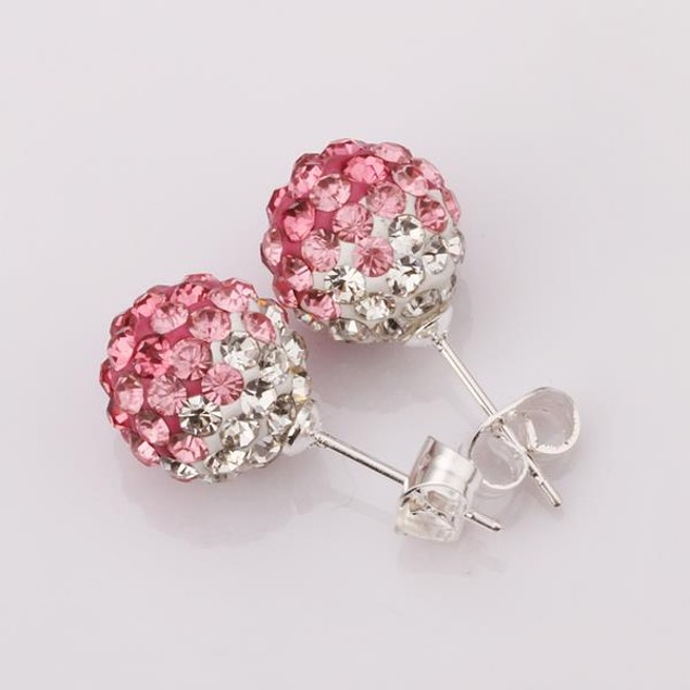 Two Toned Austrian Stone Stud Earrings - Light Coral