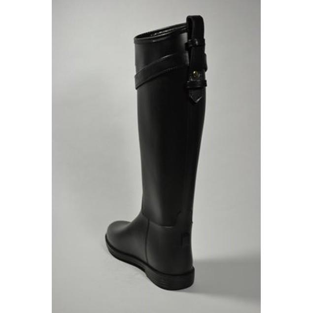 Fashion Equestrian Waterproof Rain Boots - Black