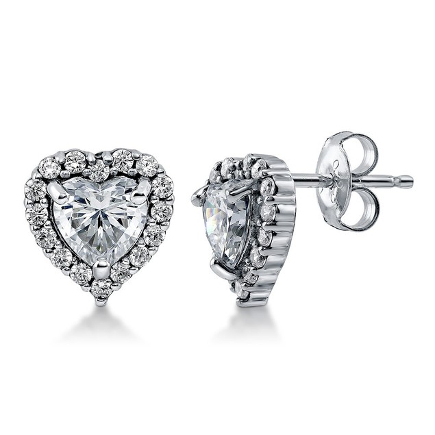 White Gold Plated Cubic Zirconia Halo Studs - 3 Styles