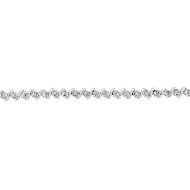 Diamond S-Type Tennis Bracelet 0.36cttw