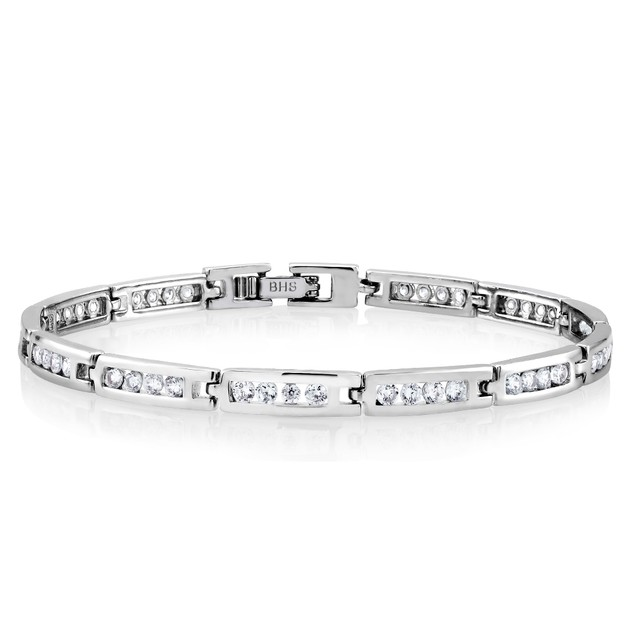 Silver Plated Cubic Zirconia Tennis Bracelets - 4 Styles