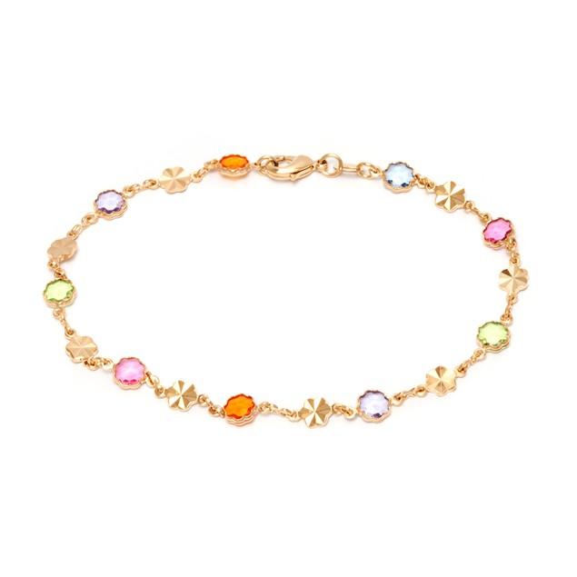Gold and Multi Color Flower Anklet Bracelet