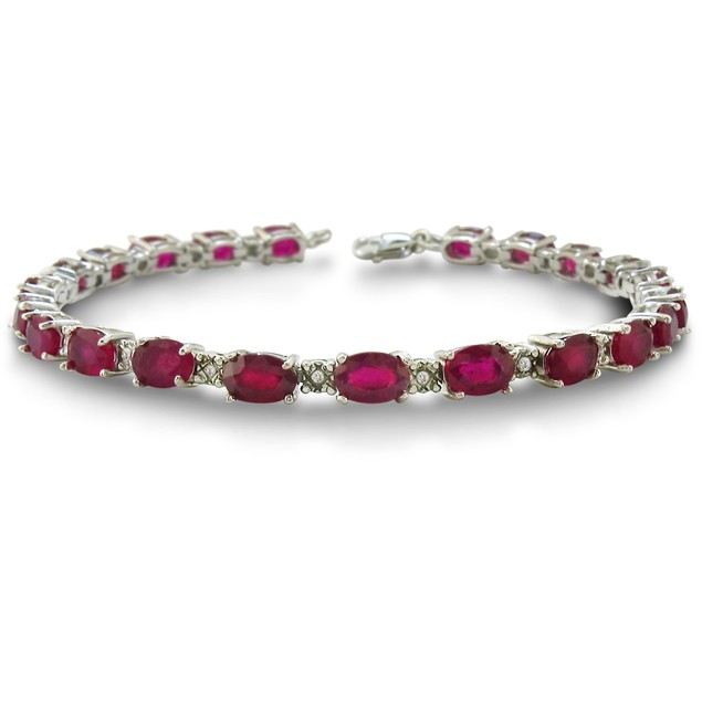 15 Carat Ruby and Diamond Bracelet in Sterling Silver