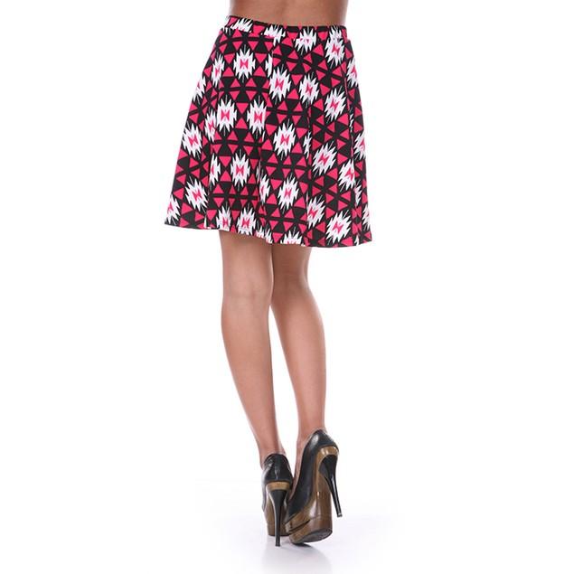 Fuchsia & Black Diamond Print Skater Skirt