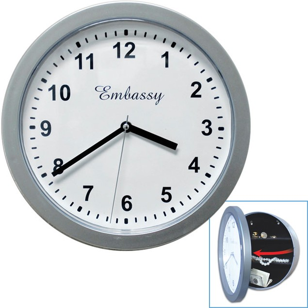 Silver Wall Clock with Hidden Safe - 10 inches by 10 inches
