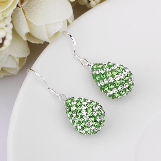 Two Toned Austrian Stone Pear Shaped Drop Earrings - Light Green