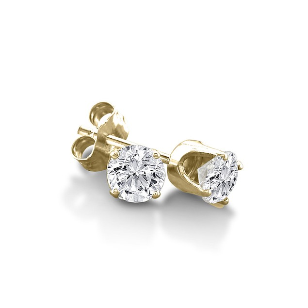 Certified 1/3ct Natural Genuine Diamond Stud Earrings In 10 Karat Yellow Gold
