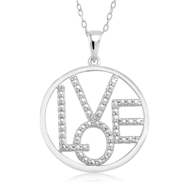 .10 Ct Diamond Accent Heart Necklace - Shiny Circle Love
