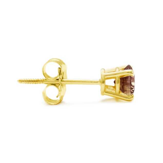 Chocolate Bar Colored Champagne Diamond Studs 1/2cttw