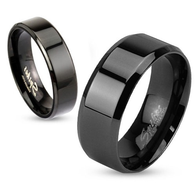 Beveled Edge Flat Band Black IP Over Stainless Steel Ring
