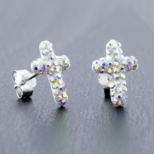 Sterling Silver Sparkling Crystal 10mm Stud Earrings - Cross Rainbow