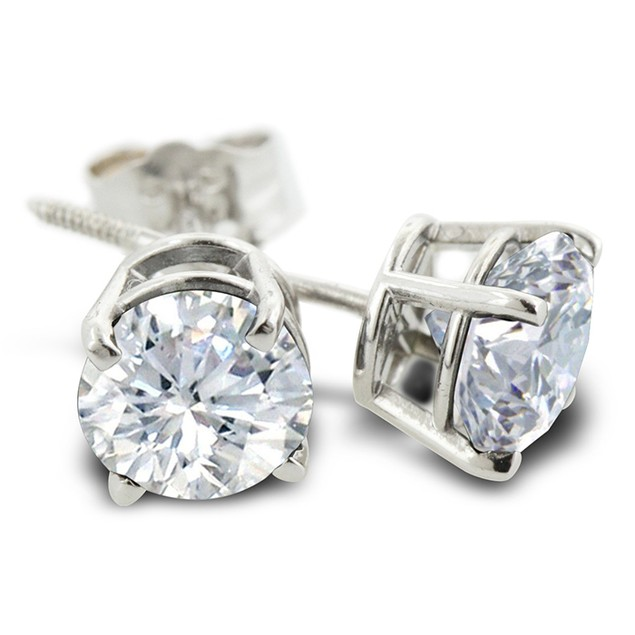 3/4ct Diamond Stud Earrings In 14 Karat White Gold