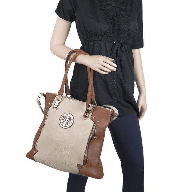 MKF Collection Blaze Two-Tone Square Medallion Tote