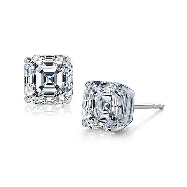Sterling Silver CZ Asscher-Cut Stud Earrings