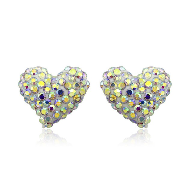 Sterling Silver Sparkling Crystal 10mm Stud Earrings - Heart Rainbow
