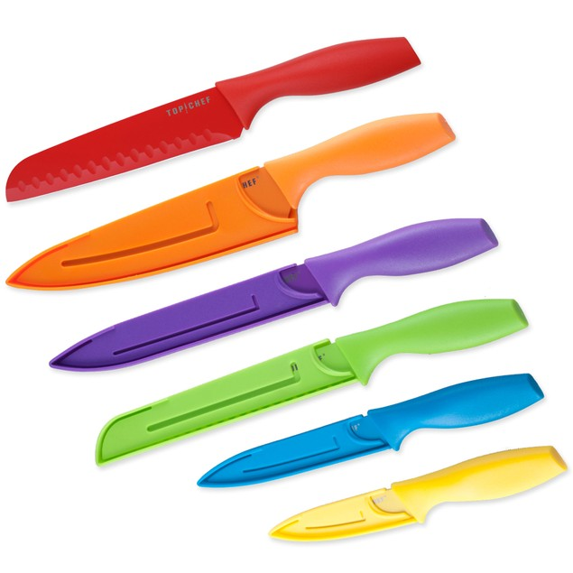 Six Piece Colored Knife Set - Professional Grade