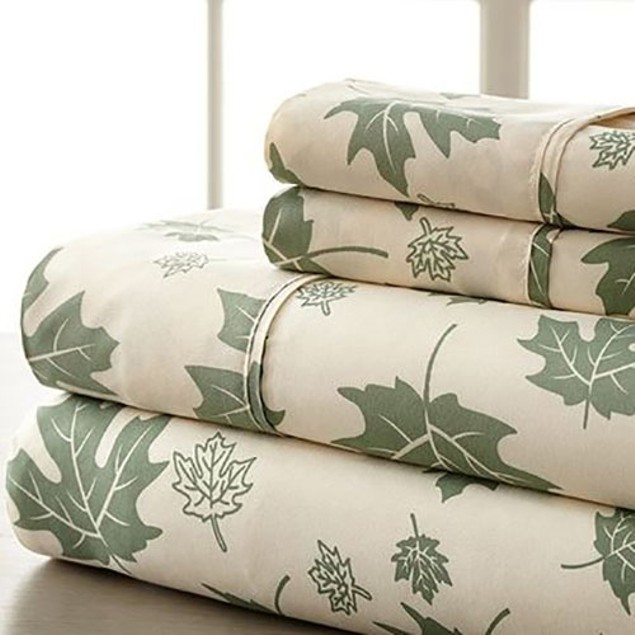 4-Piece Set: Hotel New York 1600 Series Falling Leaves Sheets